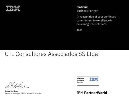 Certificado IBM Business Partner Platinum 2021